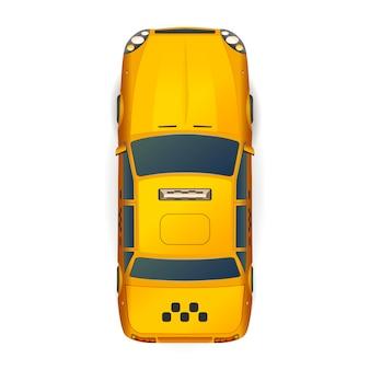 Draufsicht des hellen gelben realistischen taxiautos auf weiß