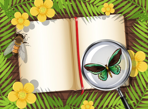 Draufsicht des holztischs mit leerer seite des buch- und insekten- und blattelements