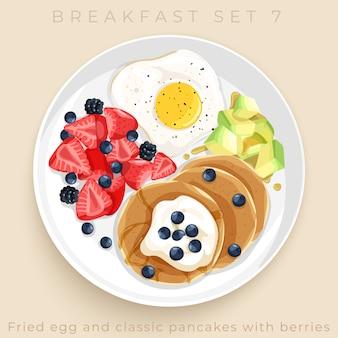 Draufsicht des köstlichen frühstückssatzes lokalisiert auf beigem hintergrund: illustration