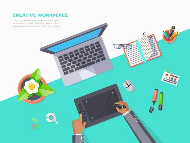 Draufsicht des kreativen arbeitsplatzes