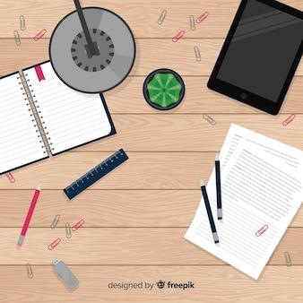 Draufsicht des modernen schreibtischs mit flachem design
