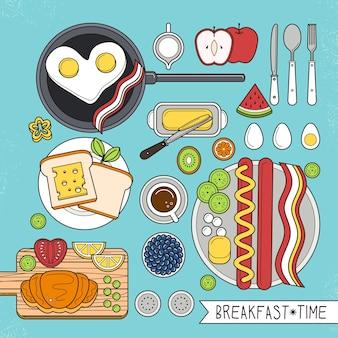 Draufsicht des nahrhaften frühstücks gesetzt in