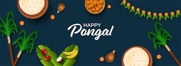 Draufsicht des pongali-reises im schlammtopf