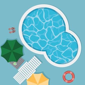 Draufsicht des pools an den sommerferien