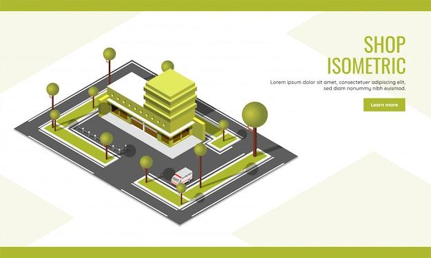 Draufsicht des stadtbildgebäudes mit fahrzeugparkplatzhintergrund für shopkonzept basierte isometrisches landungsseitendesign.