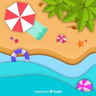 Draufsicht des strandes in der papierart
