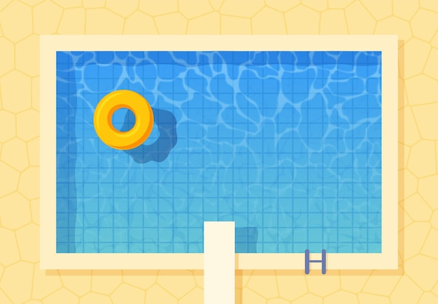 Draufsicht des swimmingpools mit aufblasbarem ring und sprungbrettsprung.