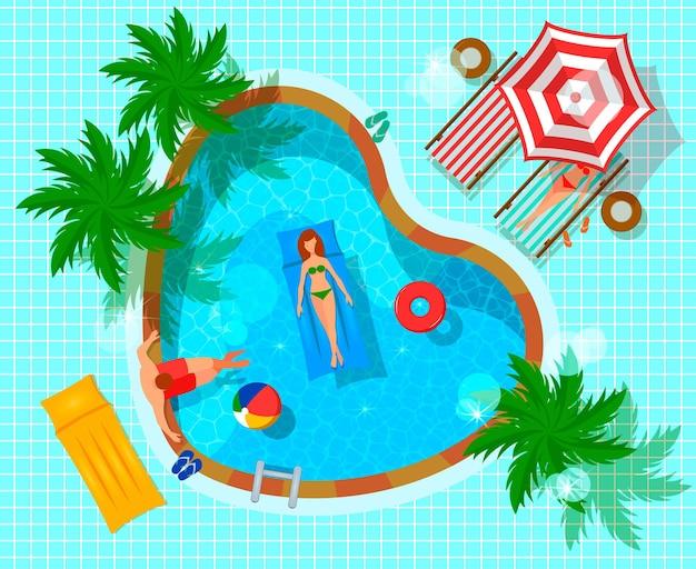 Draufsicht des swimmingpools mit menschlichen charakteren während der flachen zusammensetzung der freizeit auf mit ziegeln gedecktem blau