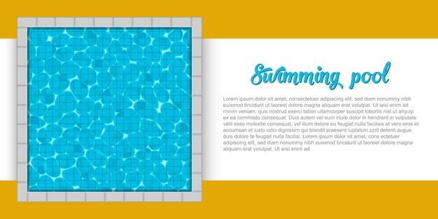 Draufsicht des swimmingpools mit reflexionshintergrund.