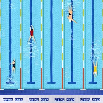 Draufsicht des swimmingpools