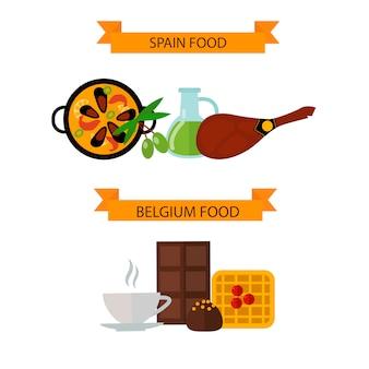 Draufsicht, die europäisches lebensmittel und flache illustration der köstlichen elemente zeigt.