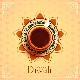 Draufsicht diya-lampe für diwali festival
