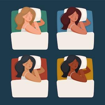 Draufsicht einer asiatischen, schwarzen, lateinamerikanischen frauen, die auf einem kissen unter einer decke schlafen.