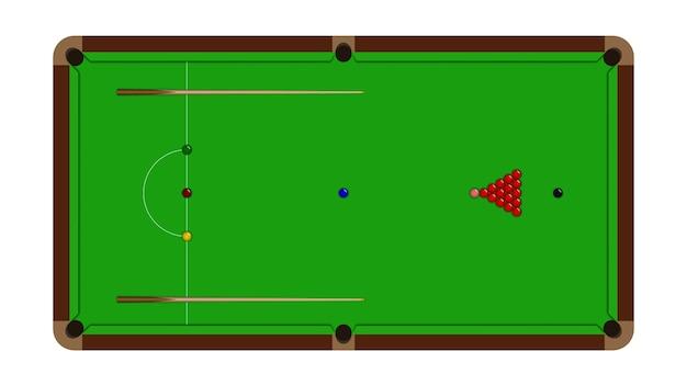 Draufsicht einer realistischen snooker-tabelle
