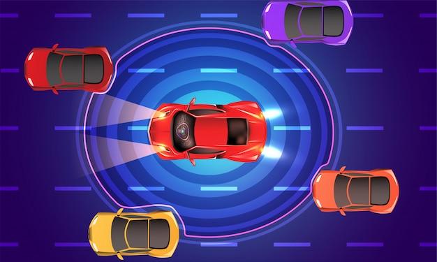 Draufsicht eines autonomen fahrzeugs.