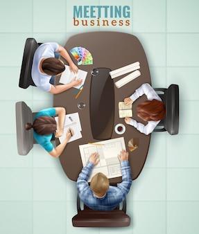 Draufsicht meeting illustration