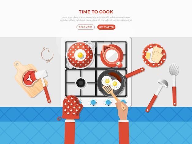 Draufsicht-plakat kochen