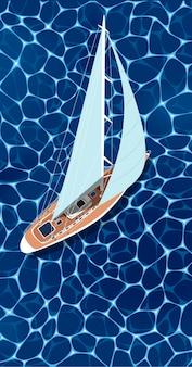 Draufsicht-segelboot auf tiefblauem meerwasser