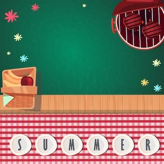 Draufsicht sommer picknick design