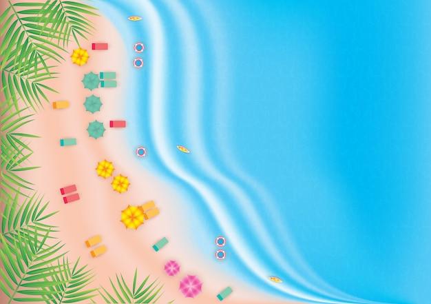 Draufsicht strandhintergrund mit regenschirmen, bällen, surfbrett. vektorillustration.