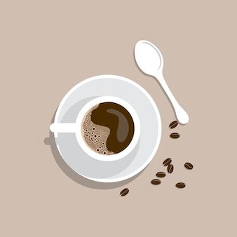 Draufsicht tasse kaffee mit kopierraum, morgenkaffee