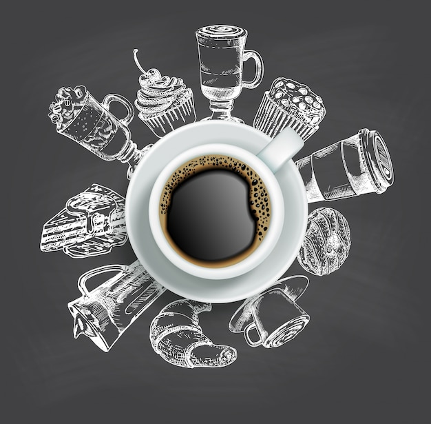 Draufsicht tasse kaffee mit skizzenbonbons um ihn