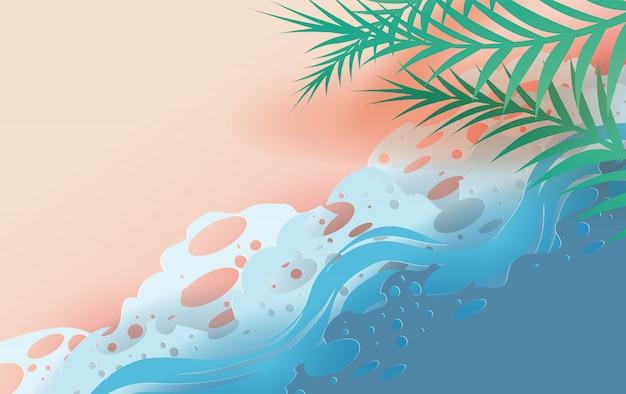 Draufsicht tropisches blatt und meereswellen am strand.