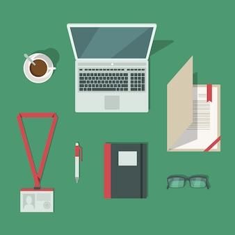 Draufsicht über klassischen büroarbeitsplatzschreibtisch