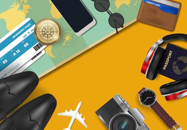 Draufsicht über reise- und ferienhintergrund