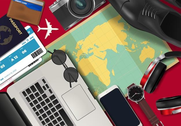 Draufsicht über reise- und tourismuskonzepthintergrund