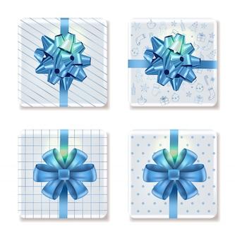 Draufsicht über weihnachtsweiße geschenkboxen