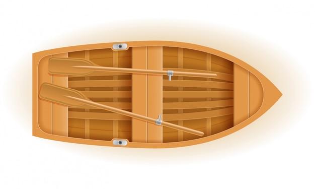 Draufsicht-vektorillustration des hölzernen bootes