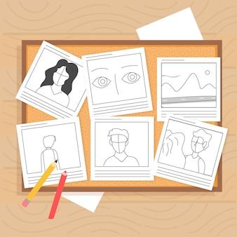 Draufsicht verschiedene geschichten mit zeichnungen