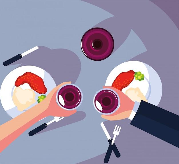 Draufsicht von den leuten, die am tisch zu abend essen