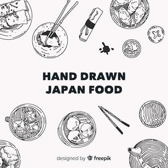 Draufsicht von japanischen tellern auf restauranttabelle