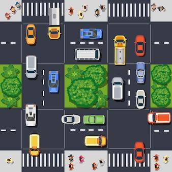 Draufsicht von oben auf die straßenkreuzung mit den personen des stadtplanmoduls. infrastruktur der stadt mit straßenillustrationsdesign kreativ