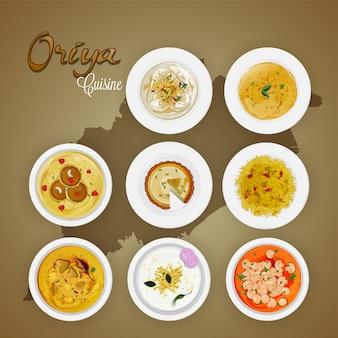 Draufsicht von oriya-küche auf staatskartenhintergrund.