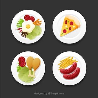 Draufsicht von speisengerichten mit flachem design