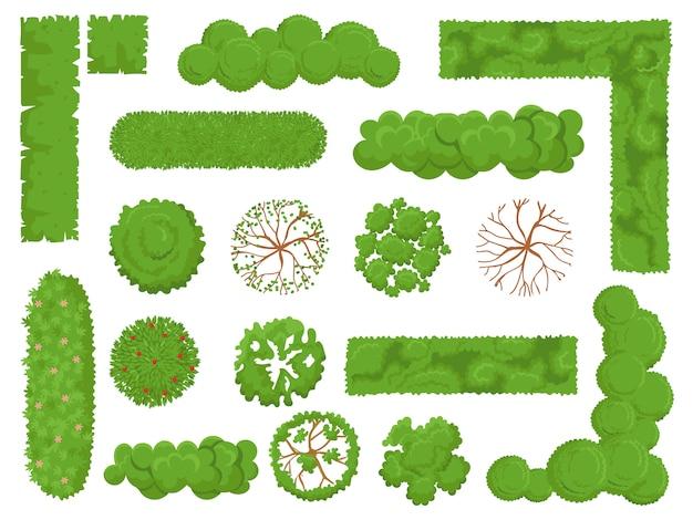 Draufsichtbäume und -büsche, waldbaum, grüner parkbusch und betriebskartenelemente schauen von oben lokalisiertem satz