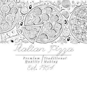 Draufsichtfahne der italienischen pizza der vektor. handgezeichnete retro illustrationen.