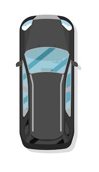 Draufsichtfamilien-hatchbackauto lokalisiert