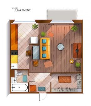 Draufsichtillustration der modernen studiowohnung des vektors