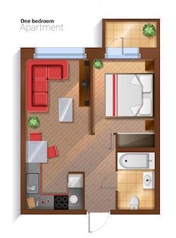 Draufsichtillustration der modernen wohnung mit einen schlafzimmern des vektors
