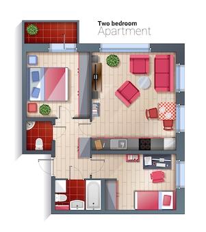 Draufsichtillustration der modernen wohnung mit zwei schlafzimmern des vektors
