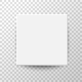 Draufsichtkonzept des weißen quadratischen kastens