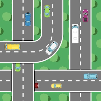 Draufsichtlandstraßenverkehr in der hauptverkehrszeitfahne