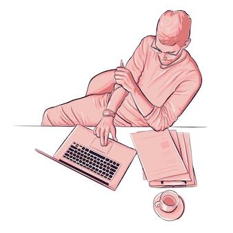Draufsichtmannillustration, die mit laptop und papieren und kaffeetasse arbeitet