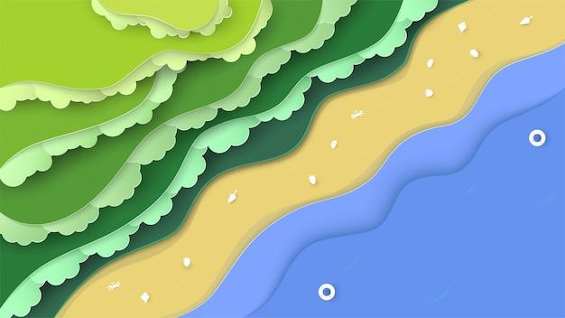 Draufsichtnaturszene des waldes mit meer und strand.