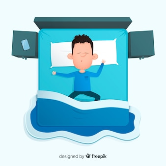 Draufsichtperson, die im bett schläft