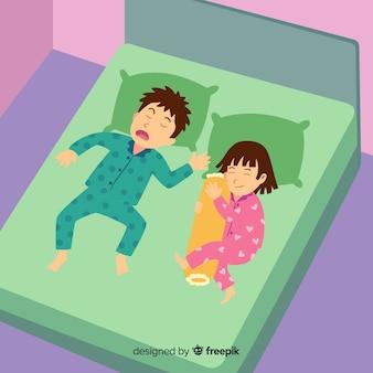 Draufsichtperson, die im betthintergrund schläft